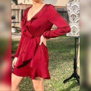 Express Burgundy Red Ruffle Wrap Dress XS